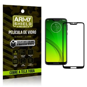 Película de Vidro 3D Cobre a Tela Toda Motorola Moto G7 Power Preta - Armyshield
