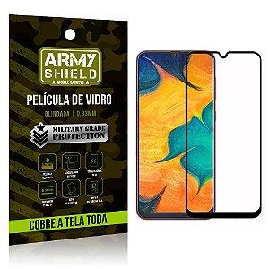 Película de Vidro 3D Cobre a Tela Toda Samsung Galaxy A20 Preta - Armyshield