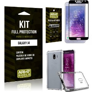 Kit Full Protection Samsung J4 Capa Anti Impacto + Película de Vidro 3D - Armyshield