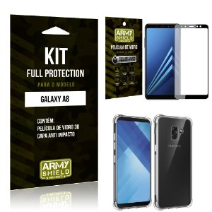 Kit Full Protection Samsung A8 Capa Anti Impacto + Película de Vidro 3D - Armyshield