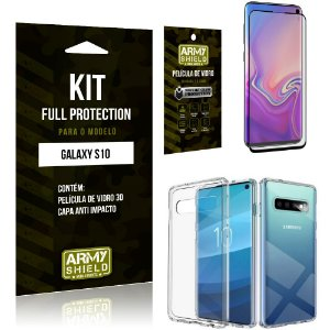 Kit Full Protection Samsung S10 Capa Anti Impacto + Película de Vidro 3D - Armyshield