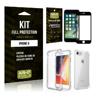 Kit Full Protection Iphone 8G Capa Anti Impacto + Película de Vidro 3D - Armyshield