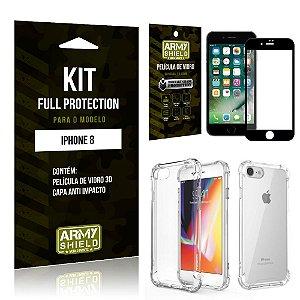 Kit Full Protection Iphone 8G Capa Anti Impacto + Película de Vidro 3D - Armyshield
