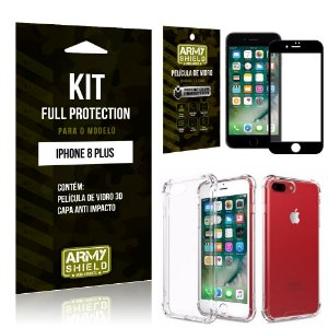 Kit Full Protection Iphone 8G PLUS Capa Anti Impacto + Película de Vidro 3D - Armyshield