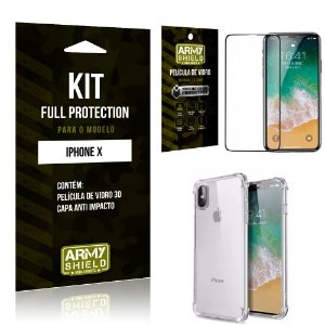 Kit Full Protection Iphone X Capa Anti Impacto + Película de Vidro 3D - Armyshield