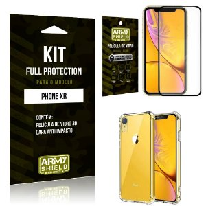 Kit Full Protection Iphone XR Capa Anti Impacto + Película de Vidro 3D - Armyshield