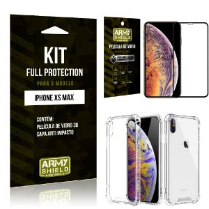 Kit Full Protection Iphone XS MAX Capa Anti Impacto + Película de Vidro 3D - Armyshield
