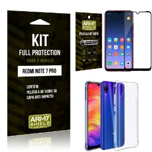 Kit Full Protection Xiaomi NOTE 7 PRO Capa Anti Impacto + Película de Vidro 3D - Armyshield