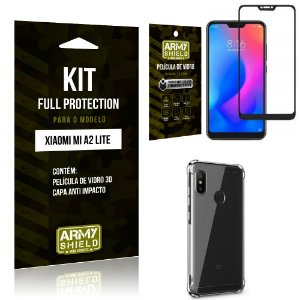 Kit Full Protection Xiaomi MI A2 LITE Capa Anti Impacto + Película de Vidro 3D - Armyshield