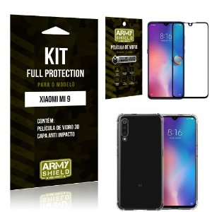 Kit Full Protection Xiaomi MI 9 Capa Anti Impacto + Película de Vidro 3D - Armyshield