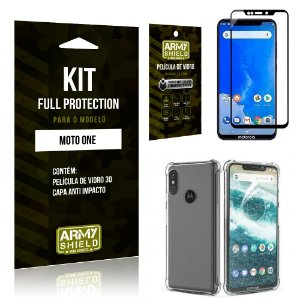 Kit Full Protection Motorola MOTO ONE Capa Anti Impacto + Película de Vidro 3D - Armyshield