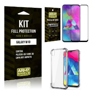 Kit Full Protection Samsung M10 Capa Anti Impacto + Película de Vidro 3D - Armyshield