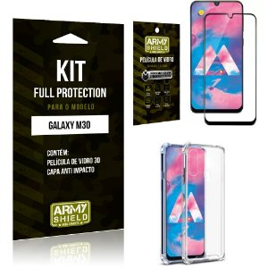 Kit Full Protection Samsung M30 Capa Anti Impacto + Película de Vidro 3D - Armyshield