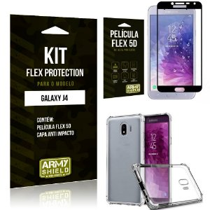 Kit Flex Protection Samsung J4 Capa Anti Impacto + Película Flex 5D - Armyshield
