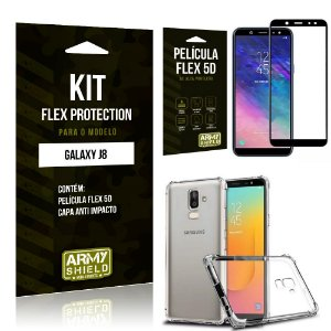 Kit Flex Protection Samsung J8 Capa Anti Impacto + Película Flex 5D - Armyshield