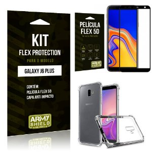 Kit Flex Protection Samsung J6 PLUS Capa Anti Impacto + Película Flex 5D - Armyshield