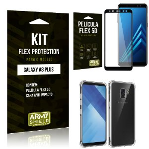 Kit Flex Protection Samsung A8 PLUS Capa Anti Impacto + Película Flex 5D - Armyshield