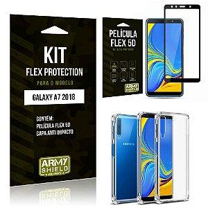 Kit Flex Protection Samsung A7 18 Capa Anti Impacto + Película Flex 5D - Armyshield