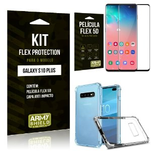Kit Flex Protection Samsung S10 Plus Capa Anti Impacto + Película Flex 5D - Armyshield