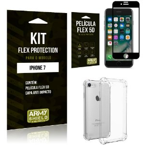 Kit Flex Protection Iphone 7G  Capa Anti Impacto + Película Flex 5D - Armyshield