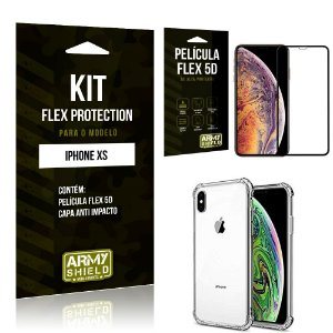 Kit Flex Protection Iphone XS Capa Anti Impacto + Película Flex 5D - Armyshield