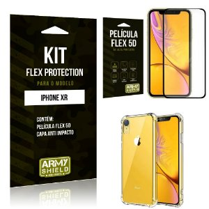 Kit Flex Protection Iphone XR Capa Anti Impacto + Película Flex 5D - Armyshield