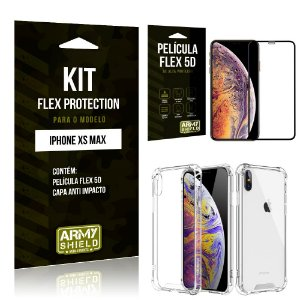Kit Flex Protection Iphone XS MAX Capa Anti Impacto + Película Flex 5D - Armyshield