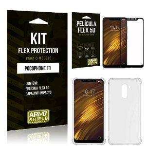 Kit Flex Protection Xiaomi POCOFONE F1 Capa Anti Impacto + Película Flex 5D - Armyshield