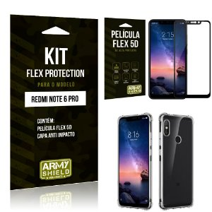 Kit Flex Protection Xiaomi NOTE 6 PRO Capa Anti Impacto + Película Flex 5D - Armyshield