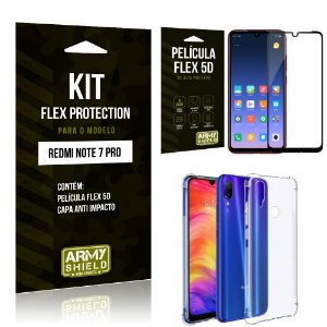 Kit Flex Protection Xiaomi NOTE 7 PRO Capa Anti Impacto + Película Flex 5D - Armyshield