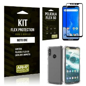 Kit Flex Protection Motorola MOTO ONE Capa Anti Impacto + Película Flex 5D - Armyshield