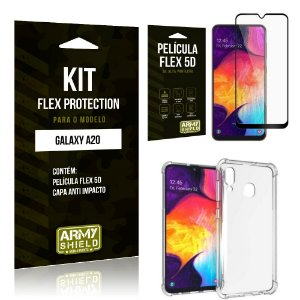 Kit Flex Protection Samsung A20 Capa Anti Impacto + Película Flex 5D - Armyshield