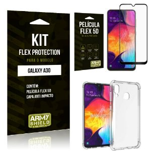 Kit Flex Protection Samsung A30 Capa Anti Impacto + Película Flex 5D - Armyshield