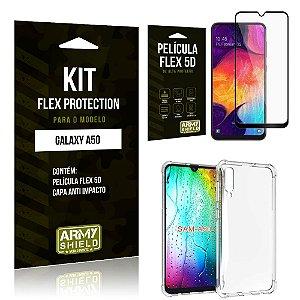 Kit Flex Protection Samsung A50 Capa Anti Impacto + Película Flex 5D - Armyshield