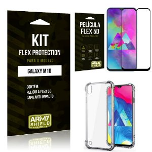 Kit Flex Protection Samsung M10 Capa Anti Impacto + Película Flex 5D - Armyshield