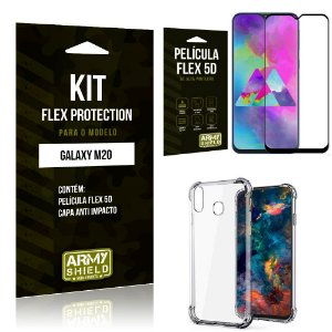 Kit Flex Protection Samsung M20 Capa Anti Impacto + Película Flex 5D - Armyshield