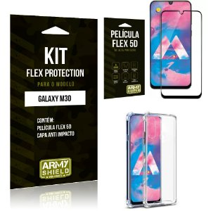 Kit Flex Protection Samsung M30 Capa Anti Impacto + Película Flex 5D - Armyshield