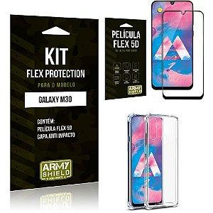 Kit Flex Protection Samsung M30 Capa Anti Impacto + Película Flex 5D - Armyshield