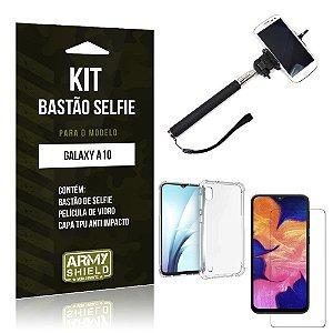 Kit Bastão de Selfie Galaxy A10 Bastão + Capinha Anti Impacto + Película de Vidro - Armyshield