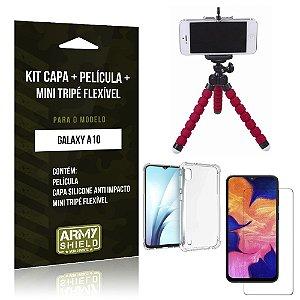 Kit Mini Tripé Flexível Galaxy A10 Tripé + Capinha Anti Impacto + Película de Vidro - Armyshield