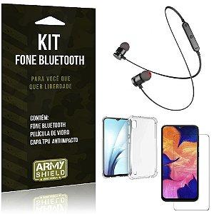 Kit Fone Bluetooth Sport 901 Galaxy A10 Fone + Capinha Anti Impacto + Película de Vidro - Armyshield