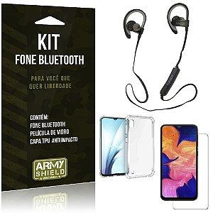 Kit Fone Bluetooth Sport 907 Galaxy A10 Fone + Capinha Anti Impacto + Película de Vidro - Armyshield
