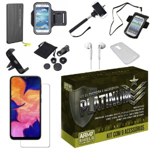 Kit Platinum Galaxy A10 com 9 Acessórios - Armyshield