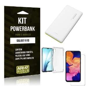 Kit Carregador Portátil 10K Galaxy A10 Powerbank+ Capinha Anti Impacto + Película Vidro - Armyshield