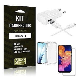 Kit Carregador Galaxy A10 Carregador + Capinha Anti Impacto + Película de Vidro - Armyshield