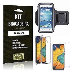 Kit Braçadeira Galaxy A20 Braçadeira + Capinha Anti Impacto + Película de Vidro - Armyshield