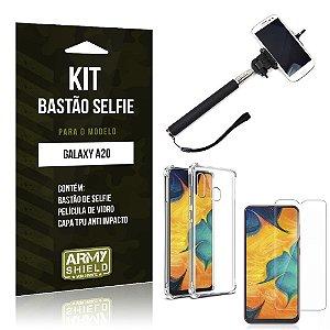Kit Bastão de Selfie Galaxy A20 Bastão + Capinha Anti Impacto + Película de Vidro - Armyshield