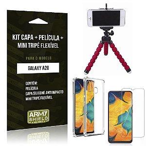 Kit Mini Tripé Flexível Galaxy A20 Tripé + Capinha Anti Impacto + Película de Vidro - Armyshield
