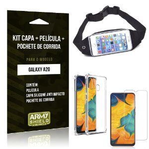 Kit Pochete Galaxy A20 Pochete + Capinha Anti Impacto + Película de Vidro - Armyshield