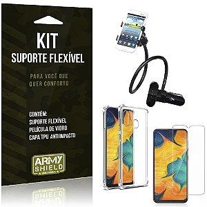 Kit Suporte Flexível Galaxy A20 Suporte + Capinha Anti Impacto + Película de Vidro - Armyshield